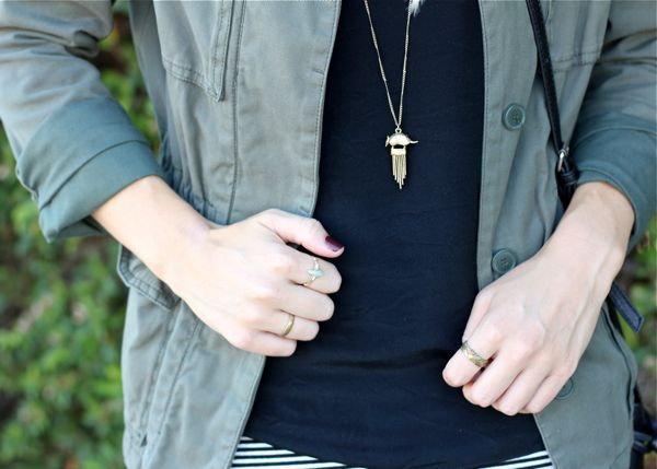 necklace, rings, military jacket, fashion blog