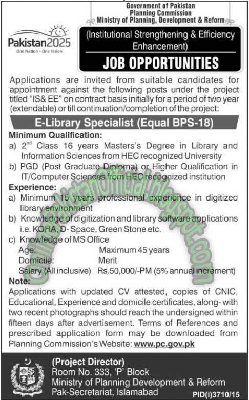 Ministry Of Planning Development & Reforms Jobs 2016