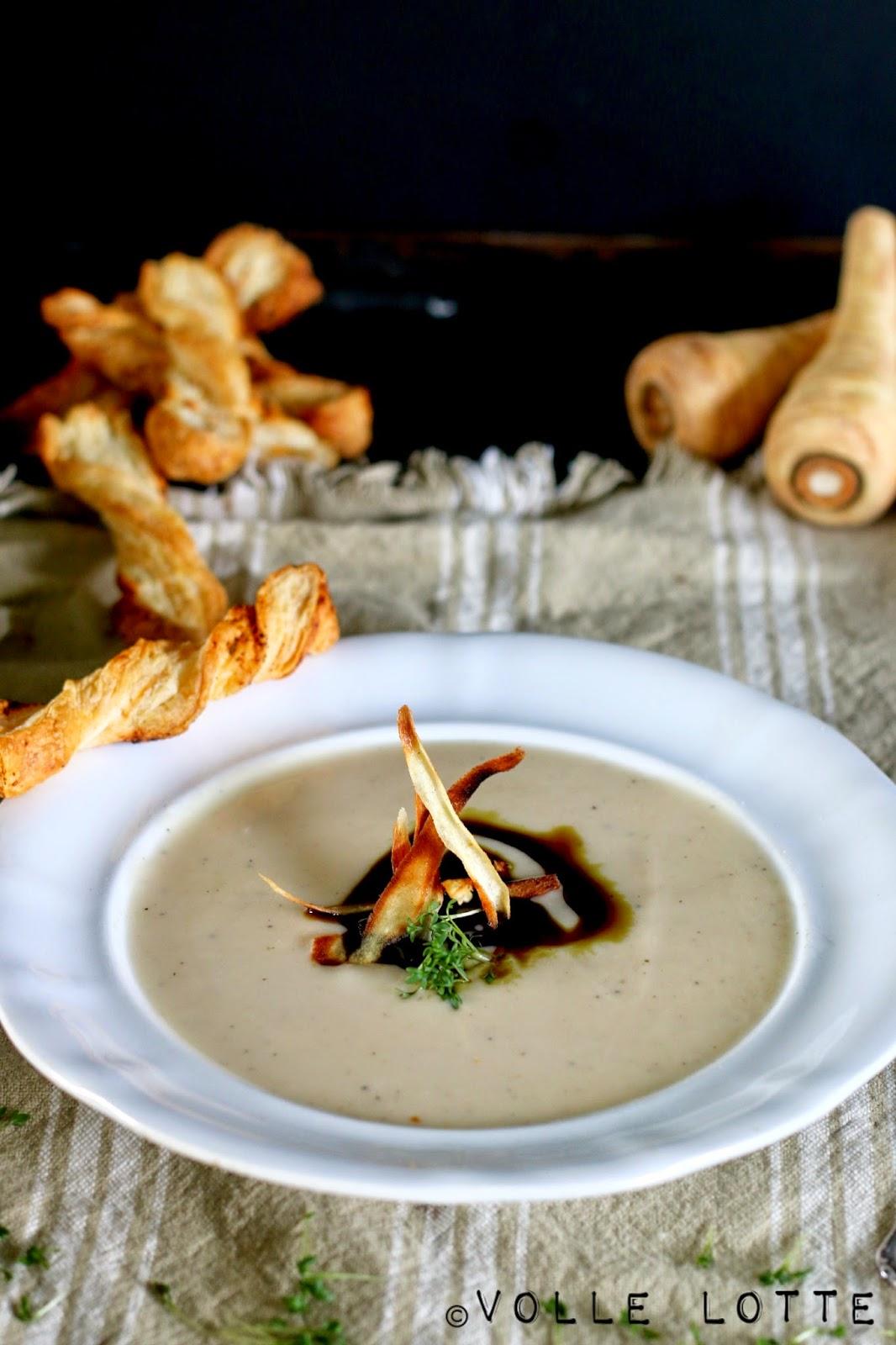 Pastinake, Suppe, Blätterteigstangen, Winter