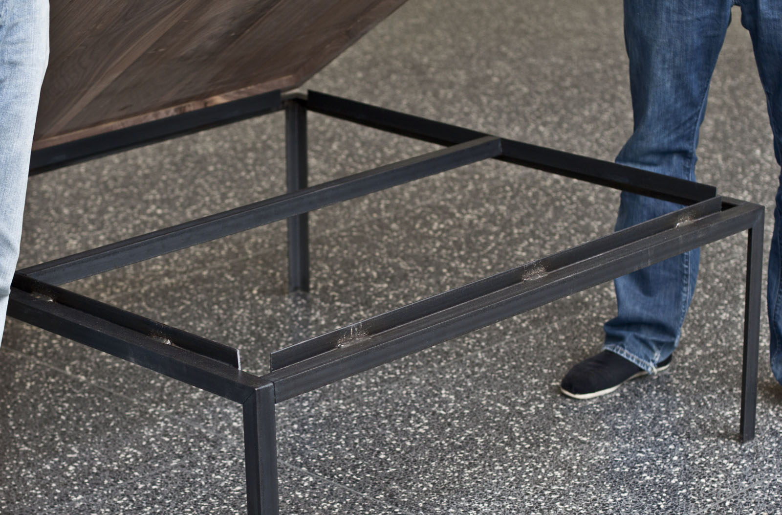 the frame uses 36 of 1 1 4 angle iron it comes in lengths slightly longer