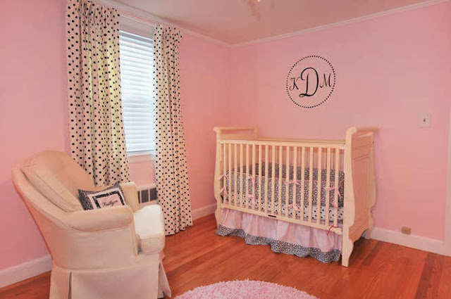 serene and soothing corner for beautiful creamy baby cribs accompanied with polkadot curtains