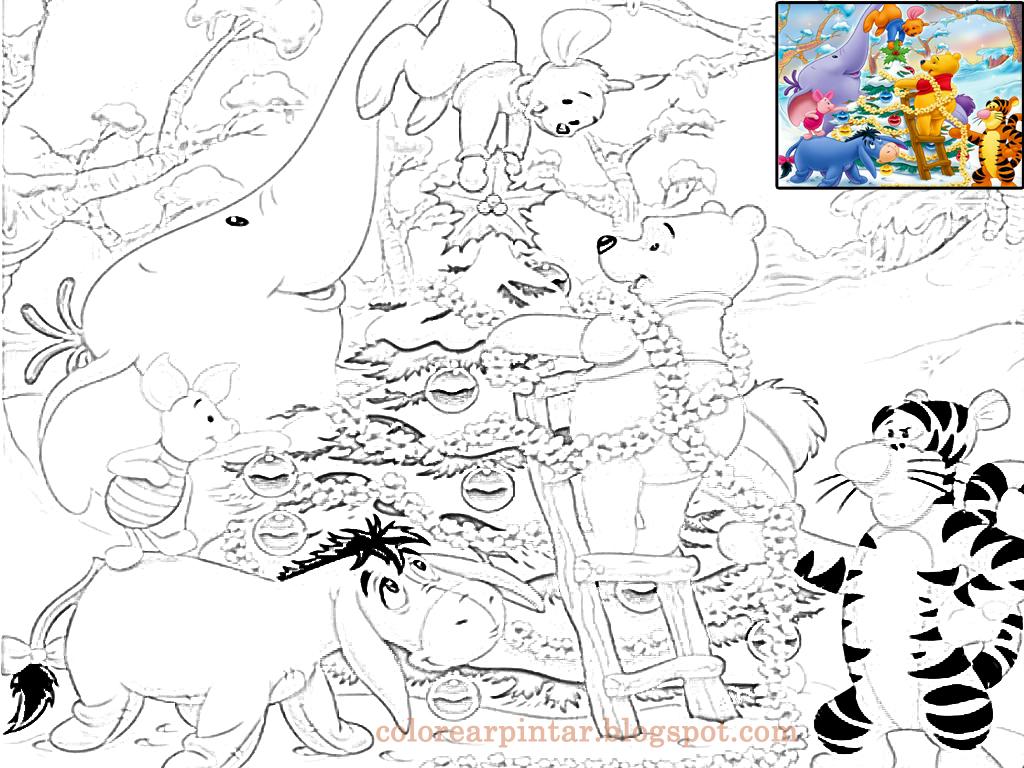 Colorear Pintar: Winnie the Pooh y sus Amigos en Navidad para Colorear