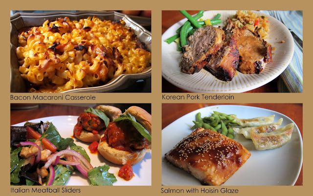 Bacon Macaroni Casserole, Italian Meatball Sliders, Korean Pork Tenderloin, Salmon with Hoisin Glaze