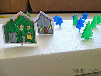 Close up of winter fine motor village from And Next Comes L