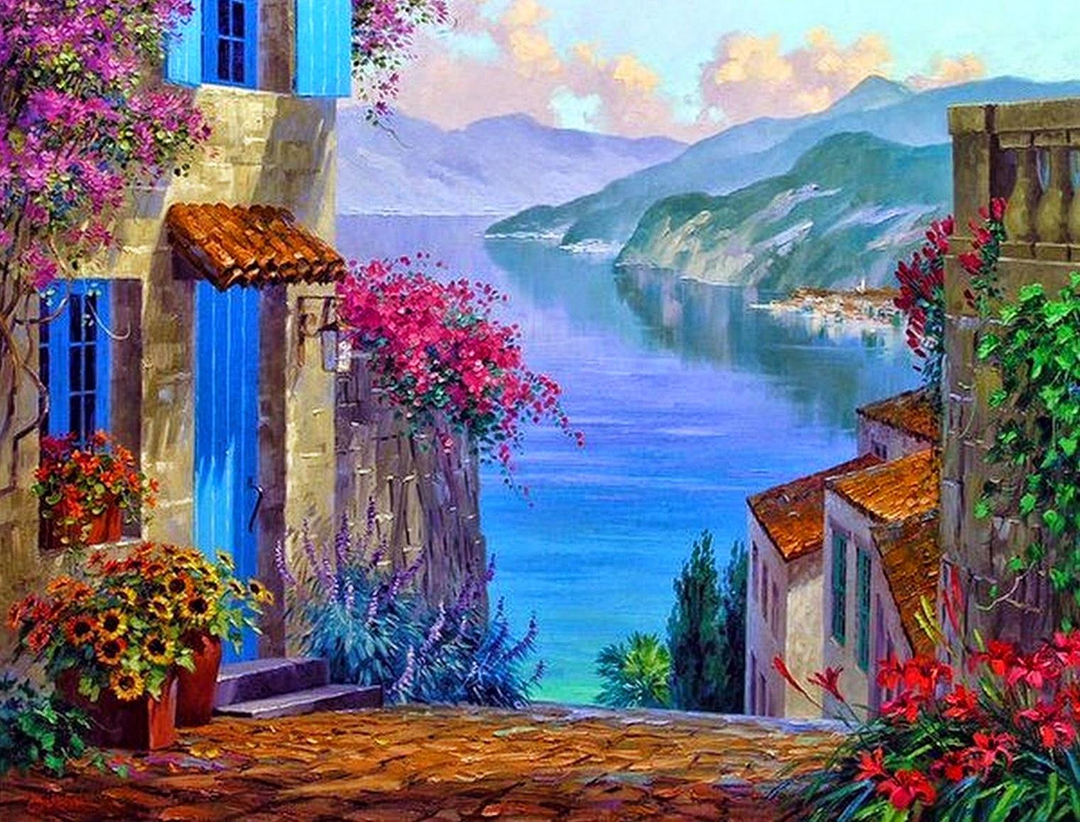 cuadros-de-flores-en-paisajes-naturales-al-oleo