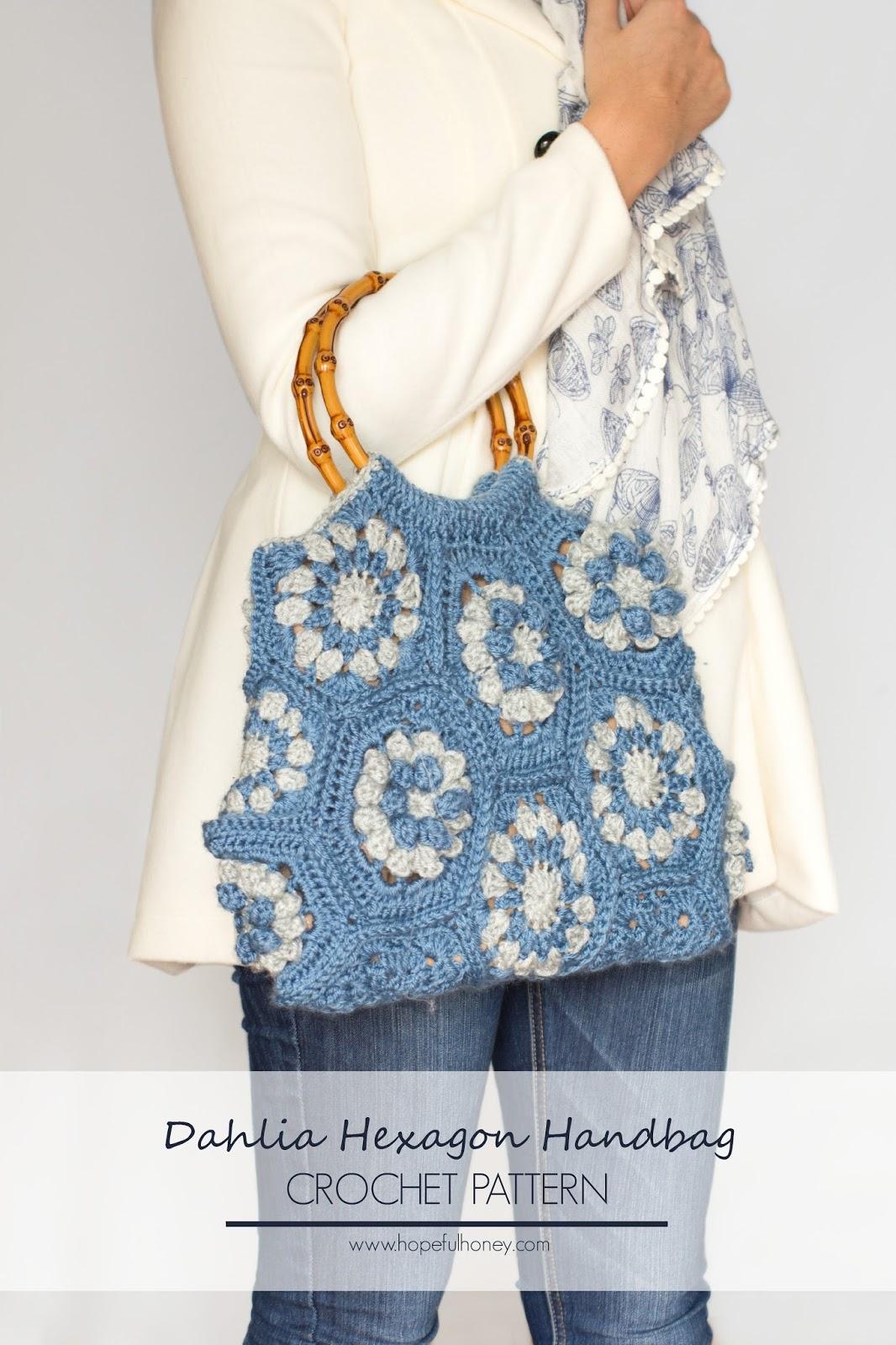 Hexagon Crochet Bag Pattern : ... Honey Craft, Crochet, Create: Dahlia Hexagon Handbag Crochet Pattern
