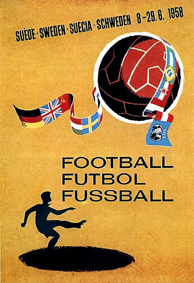 Cartaz oficial da FIFA para a Copa do Mundo de 1958, realizada na Suécia.