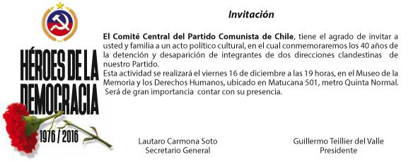 INVITACIÓN CONMEMORACIÓN 40 AÑOS DE LA DETENCIÓN DE LAS DOS DIRECCIONES CLANDESTINAS COMUNISTAS