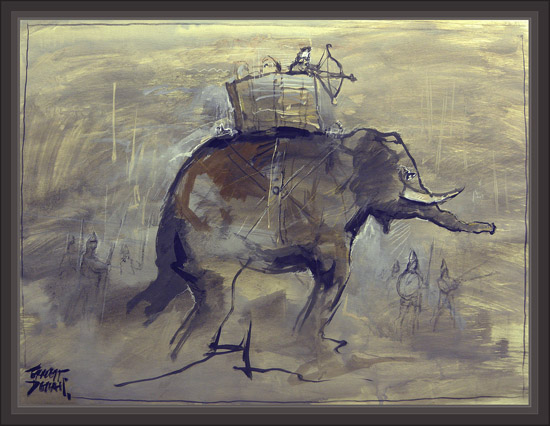 CARTHAGE-CARTAGO-BATALLAS-BATTELS-CARTHAGINIAN-ELEPHANTS-ELEFANTES-CARTAGINESES-SOLDADOS-SOLDIERS-PAINTINGS-PINTURA-PINTOR-ERNEST DESCALS-