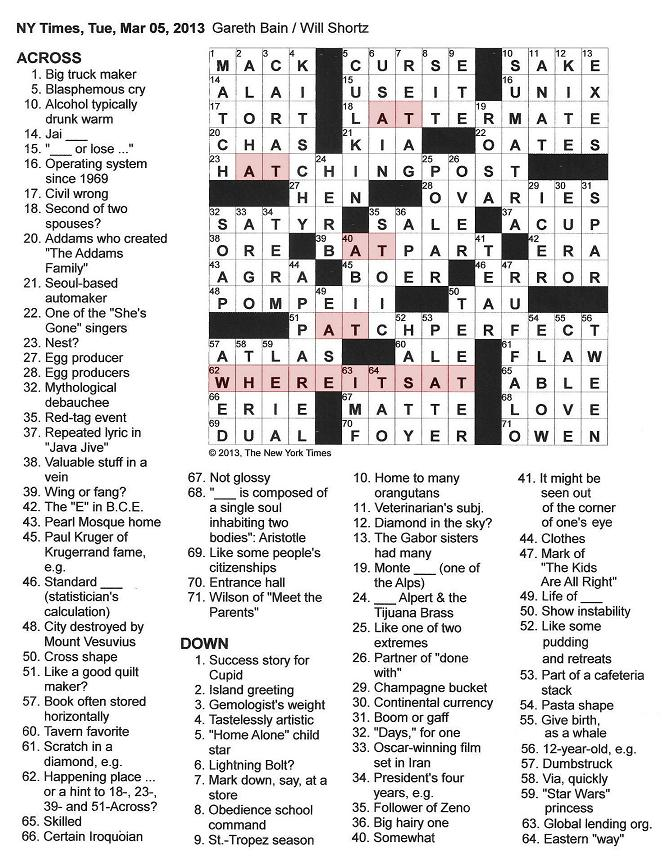 The New York Times Crossword in Gothic: 03.05.13 — Where It's At