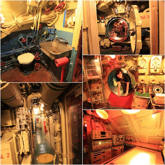 It's narrow and cramped everywhere including the bathroom as we tour in the Russian Scorpion Submarine at Long Beach, Los Angeles, California, USA