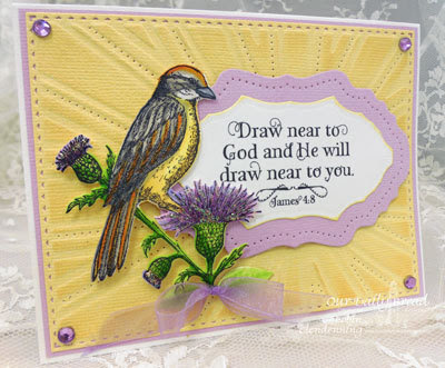 Our Daily Bread Designs, God Verses, He Watches Me, Sparrow Die, Vintage Flourish Pattern, Sunburst Background, Designed by Robin Clendenning