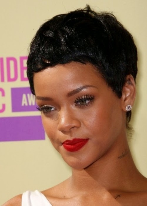 Rihanna African American Cropped Pixie Cut Hairstyle, Haircut With Image