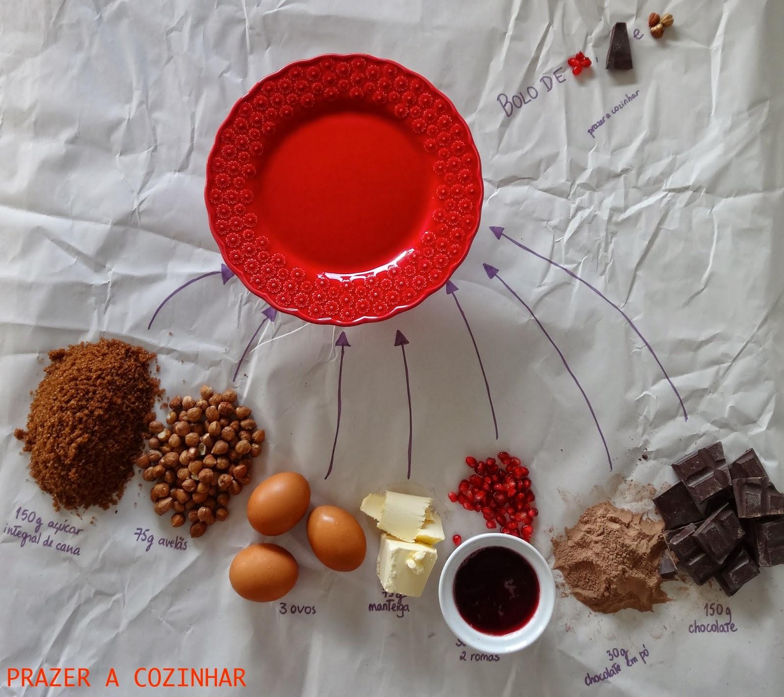 prazer a cozinhar - Bolo de romã, chocolate e avelãs