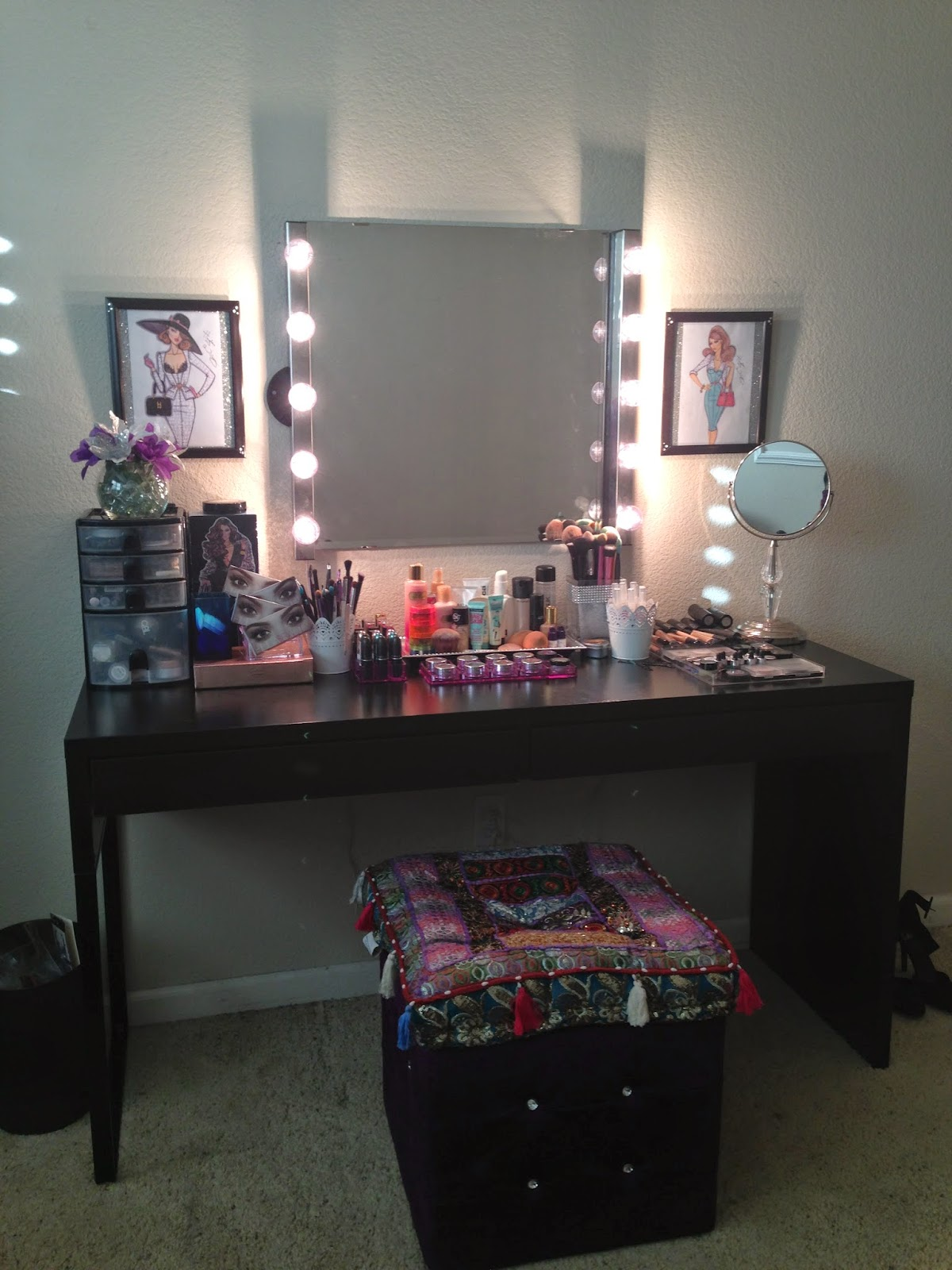 For the pictures on the wall on the side of each wall lamp, I printed  +Hayden Williams drawings because I love them so much! He is an amazing  artist and has ... - My Makeup Vanity ~ Glam Doll