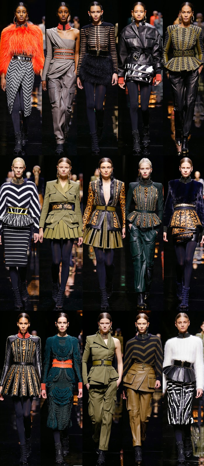 Balmain by Olivier Rousteing fall winter 2014 runway collection, PFW, Paris fashion week, FW14, AW14