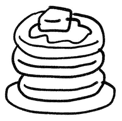 ホットケーキ・パンケーキのイラスト(お菓子) モノクロ線画