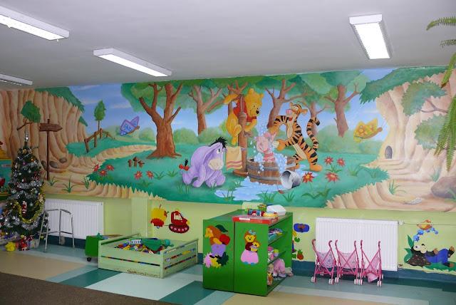 Malowanie sali przedszkolnej w motyw z bajki Kubusia, realistyczne malowidło ścienne 3D, obraz wykonany na ścianie