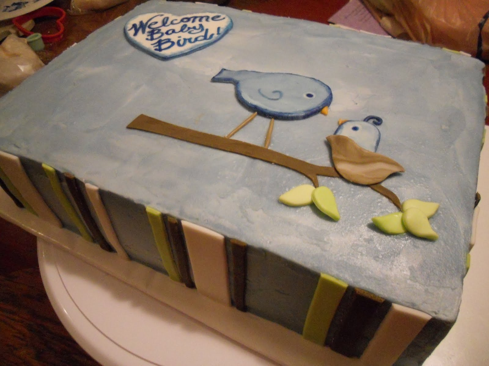 Baby Bird Shower Cake