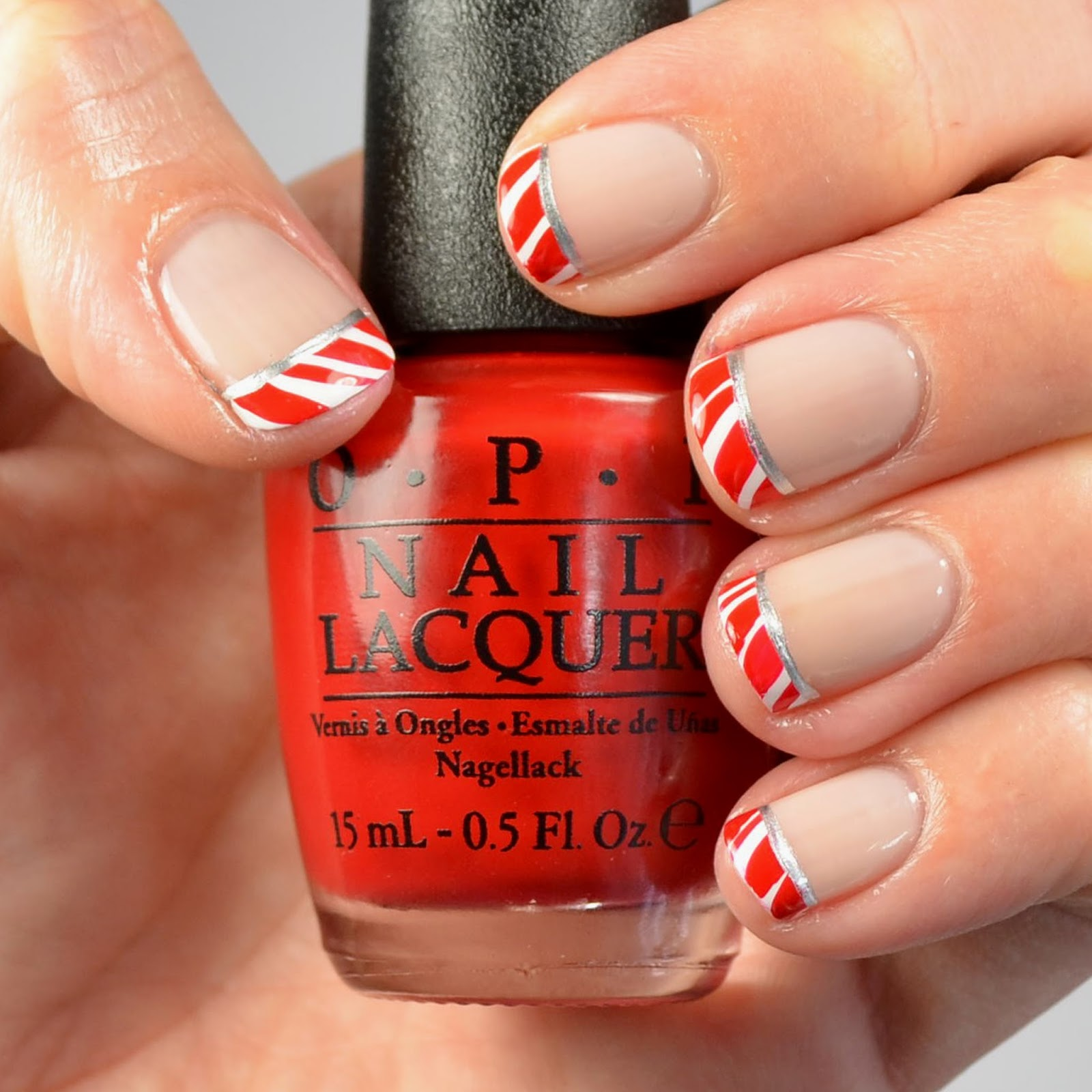 Go Polished Candy Cane French Tip