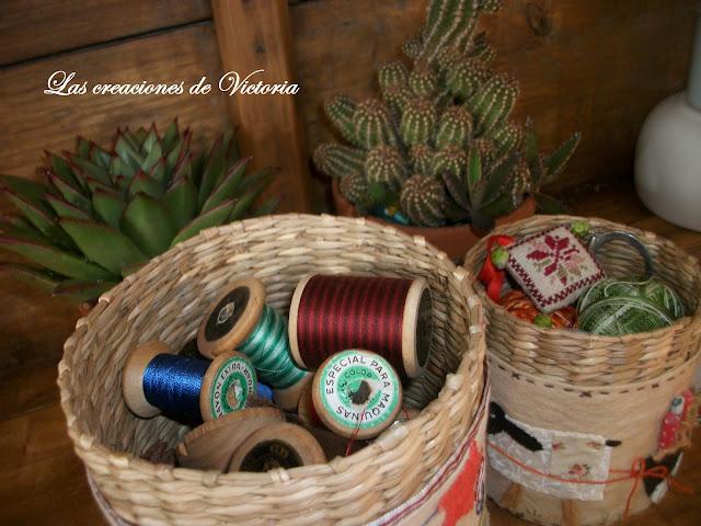 Las creaciones de Victoria. Patchwork .Cubre cestas estilo country