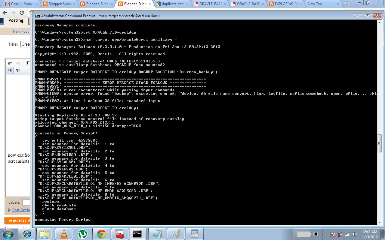 now exit from sqlplus and go to RMAN for restoration, connect to both target & auxiliary as in the screenshots