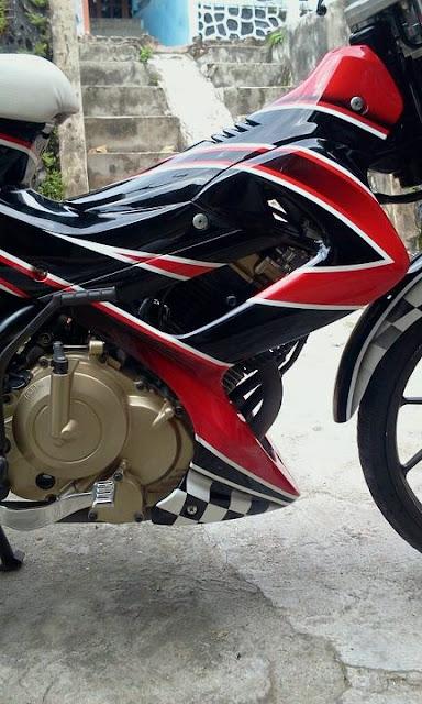 modifikasi satria fu airbrush red black art : MODIFIKASI MOTOR title=