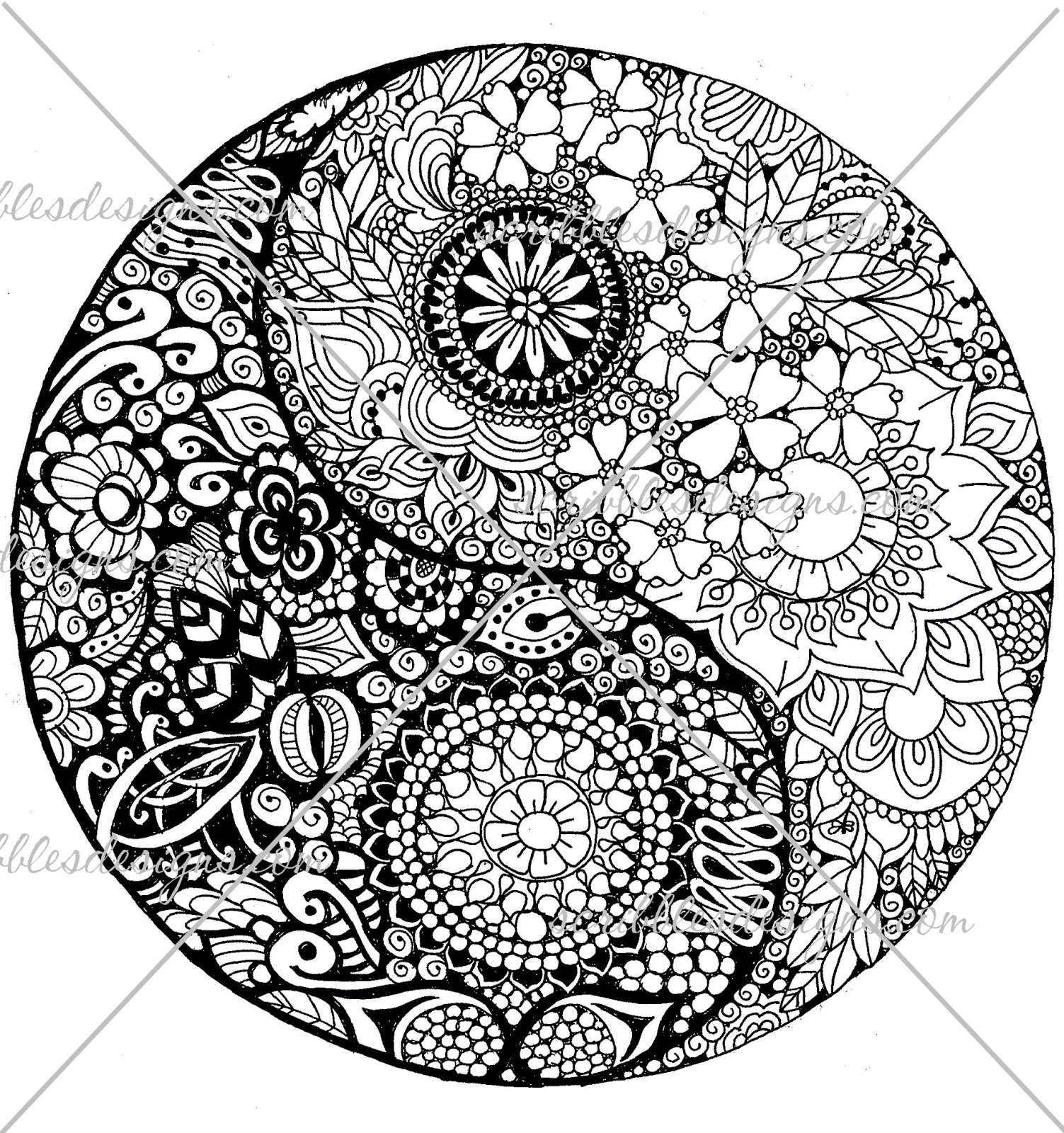ying yang coloring pages scribbles designs a 50 flower ying yang 1