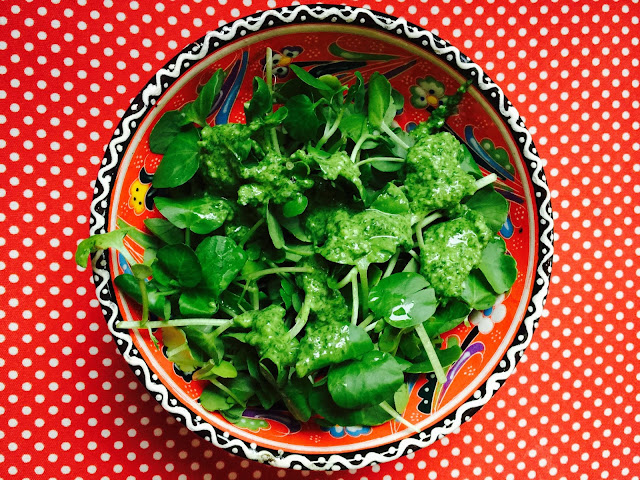Watercress salad with rocket, watercress and spinach pesto sauce
