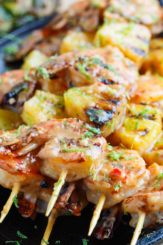 Grilled Coconut and Pineapple Sweet Chili Shrimp on Closet Cooking