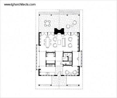 Plano de planta de una casa de madera
