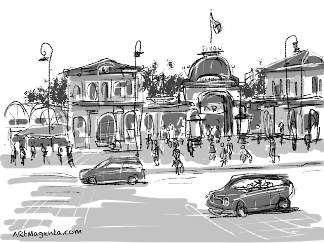 Tivoli in Copenhagen. A sketch drawn on iPad by Artmagenta.
