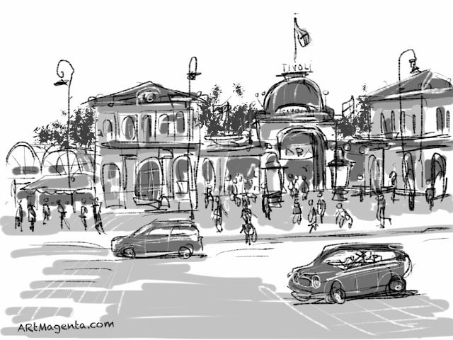 Tivoli in Copenhagen. A sketch drawn on iPad by Artmagenta.