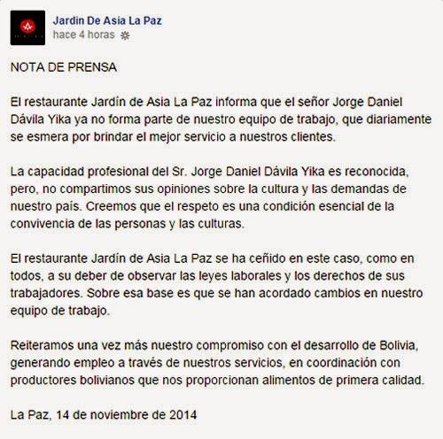Captura de la nota de prensa sobre desvinculacion laboral con Jorge Dávila