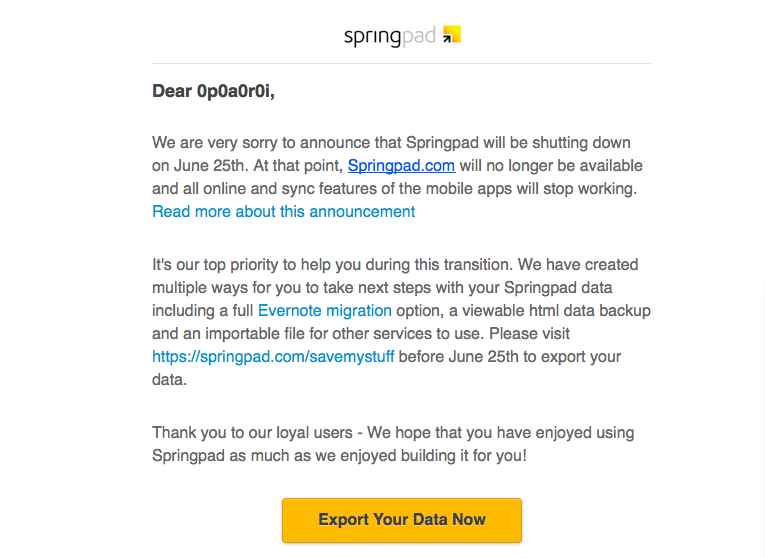 Springpad shutting down