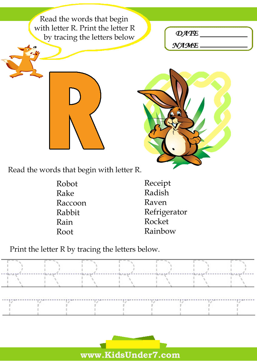 Kids Under 7 Alphabet Worksheetsace And Print Letter R