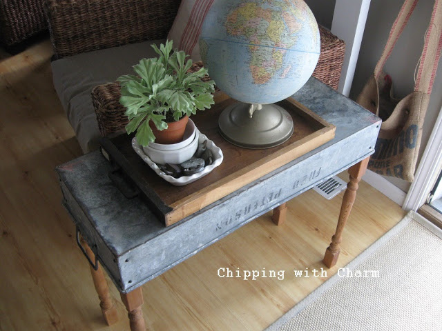 Super cool tool tote console table - Chipping with Charm featured on I Love That Junk