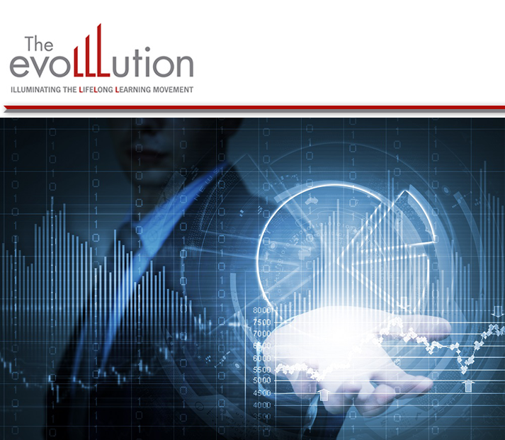 EvoLLLution web herader Illuminating the Lifelong Learning Movement.  Image of a data floating above someone's palm.  the