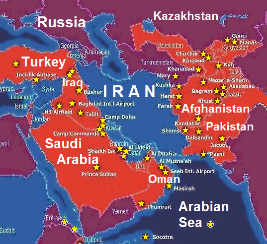 Stars Show U S Military Bases In The Middle East From Map Posted By Lew Rockwell 12 6 2011