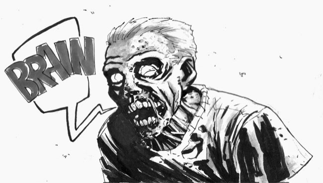 zombie sketch ink black and white walking dead