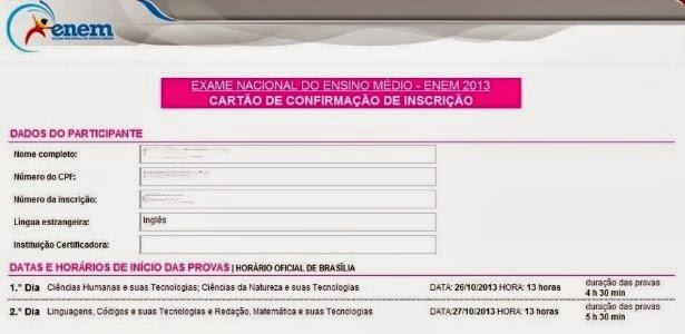 Cartão de confirmação da inscrição no Enem 2013 disponível