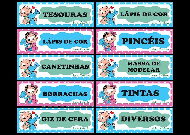 Etiquetas para organizar material Turma da Mônica Baby