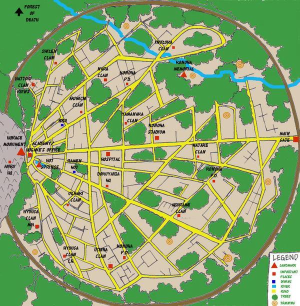 Bienvenidos A Este Blog Espero Que Les Guste Mapa De Konoha Aldea Oculta De La Hoja Ciudad De Donde Es Naruto