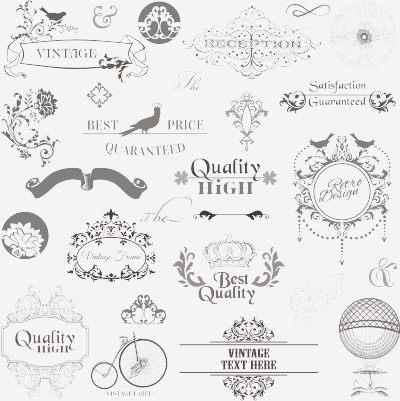 gray vintage ornaments vector