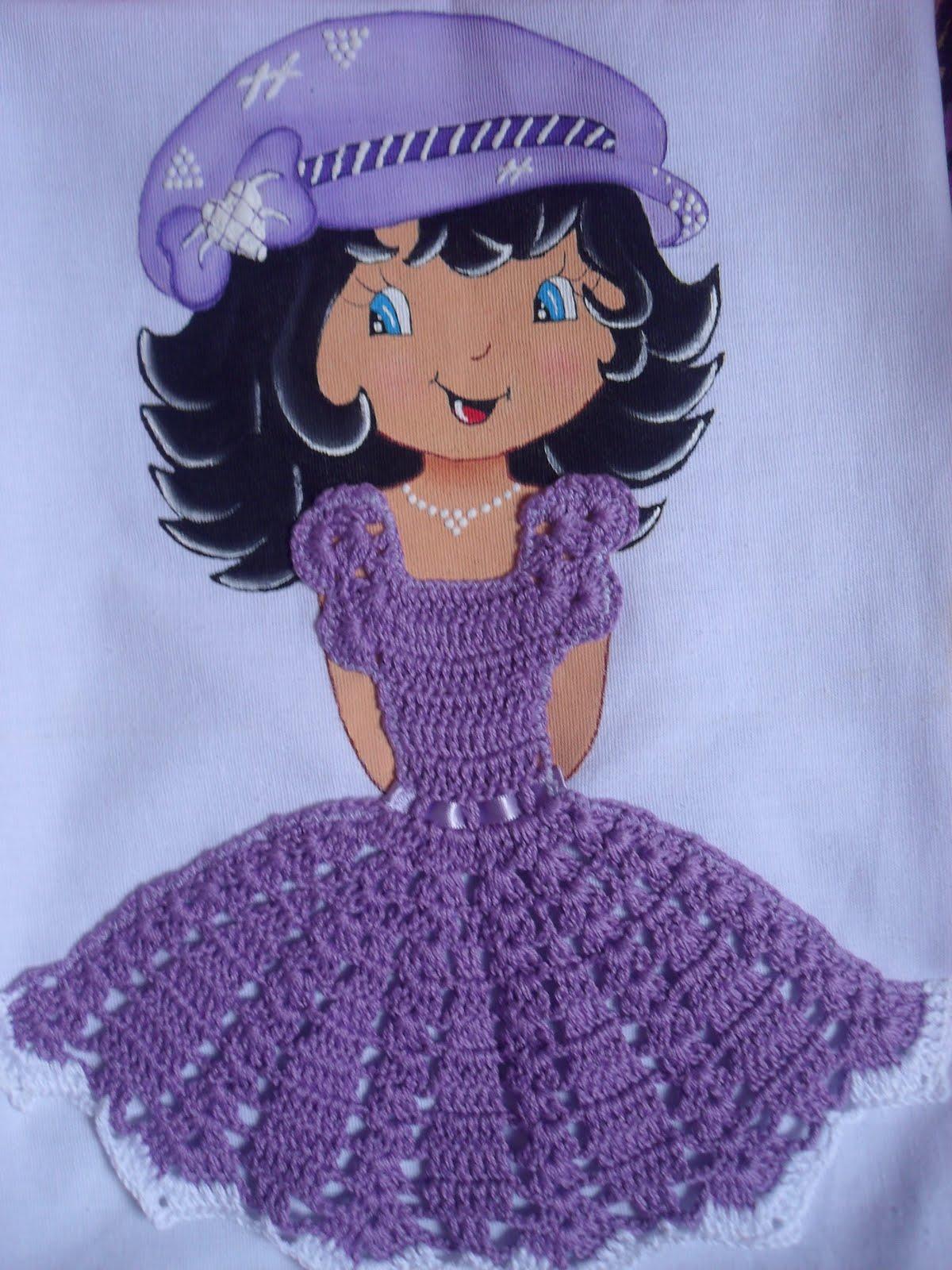 Populares HelVariedades: boneca pintadas no pano de prato ou copa RO86