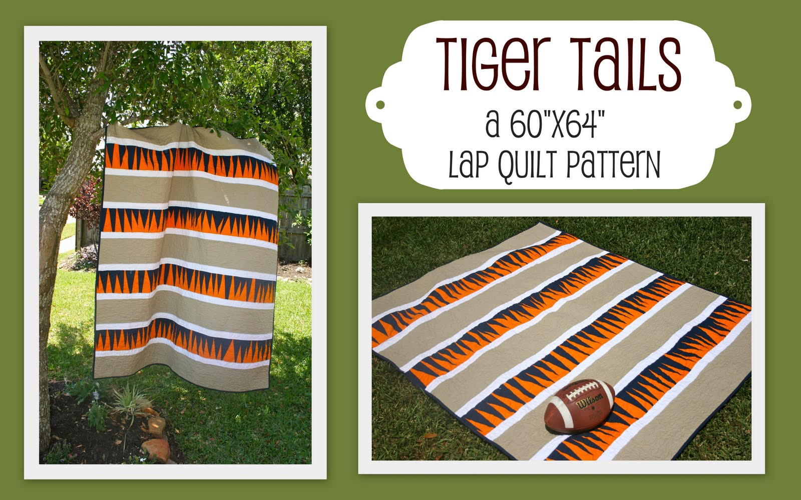 Alabama Football Quilt Pattern http://tulip-patch.blogspot.com/2011/04/new-pattern-tiger-tails.html