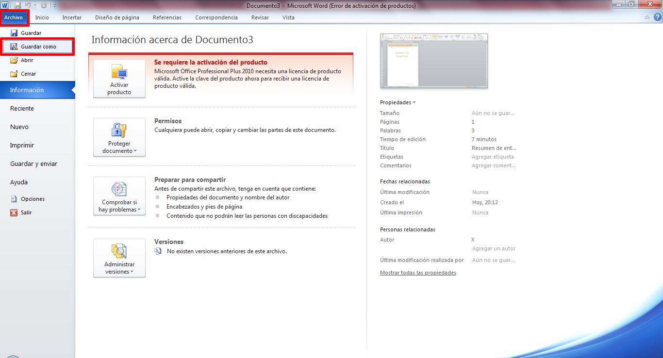 AYTUTO: Guardar un documento como plantilla en WORD