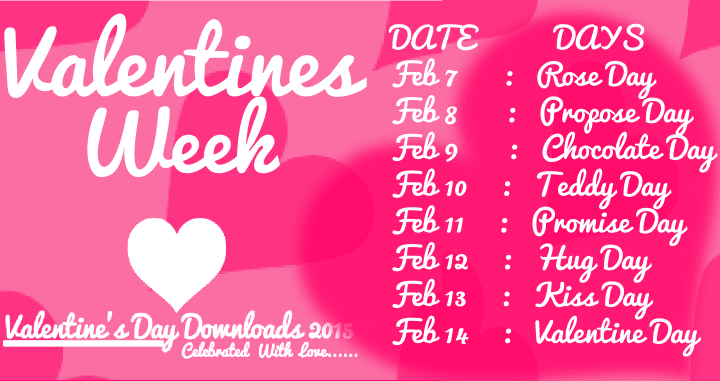 Happy Valentines Day 2018 Week List, Schedule, Timetable, Calendar ...