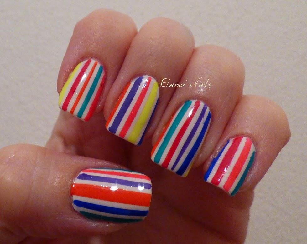 neon stripe nails