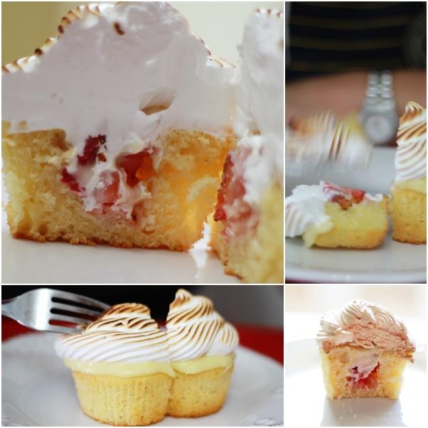 Cupcake recheado com morangos e ganache de chocolate branco coberto com suspiro